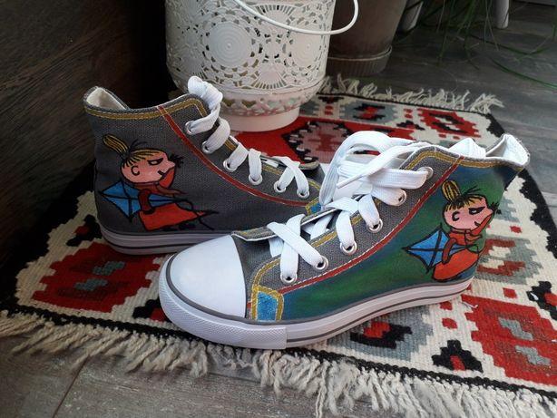 Trampki NOWE buty Mała Mi ręcznie malowane kolorowe z bajki rozm. 33