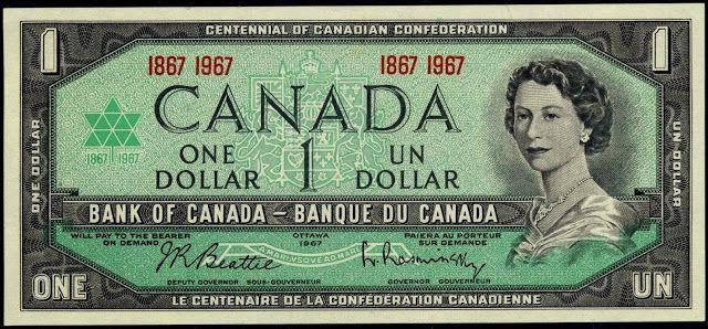1867 Centennial one canadian bill 1 dollar canada