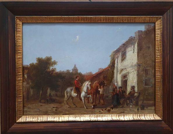 Stary obraz XIX wiek na desce