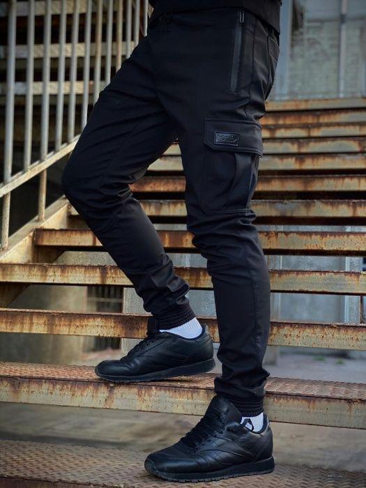 Брюки карго мужские теплые черные   штаны джоггеры мужские на флисе