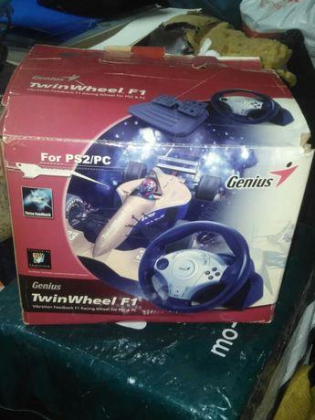 Volante Genius TwinWheels F1 em caixa com cd instalacao e manual
