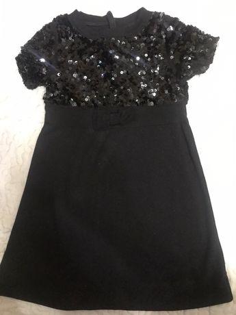 Платье черное паетка,8 лет