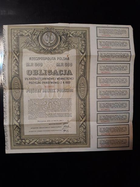 Obligacja 500 marek polskich 1920
