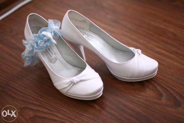 Białe buty ślubne na koturnie obcas 38
