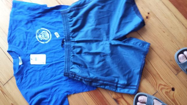 koszulka spodenki sportowe wojskowe, niebieskie r. XS