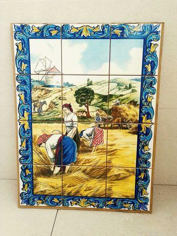 Painéis de Azulejos Ceifeiras Alentejo Monte Alentejano Moinho Carroça
