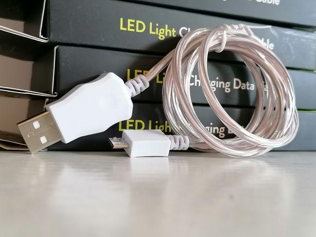 LED mocny przewód kabel świecący USB micro 1 metr silikon