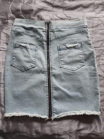 Spódniczka jeansowa z zamkiem z tyłu. Nowa S/M