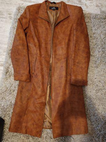 Кожаное пальто плащ