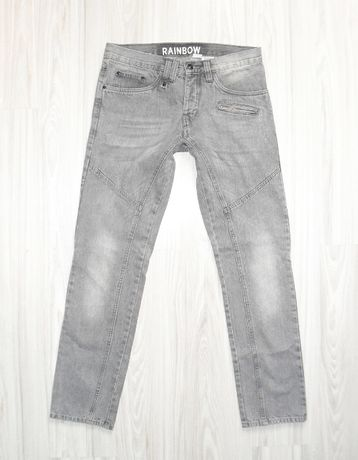 Spodnie męskie RAINBOW / jeansy szare r. 34/34