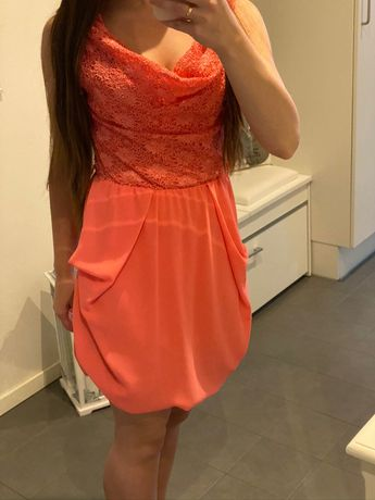 Koralowa sukienka koronka S