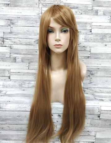 парик ровный прямой светло-коричневый русый 80см термо с челкой