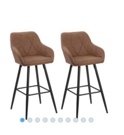 Beliani Zestaw 2 krzeseł barowych brązowy DARIEN NOWE