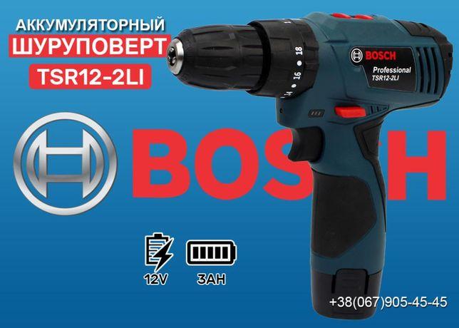 Ударный шуруповерт Bosch TSR12-2LI (12V, 3Ah) с набором. Дрель Бош
