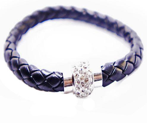 Кожаный плетеный премиум браслет Бусина Пандора Pandora