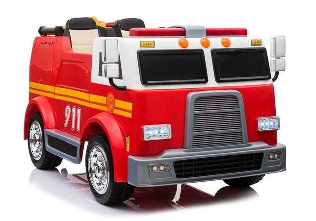 Dwuosobowy Wóz Strażacki Straż Pożarna na akumulator dla dzieci +PILOT