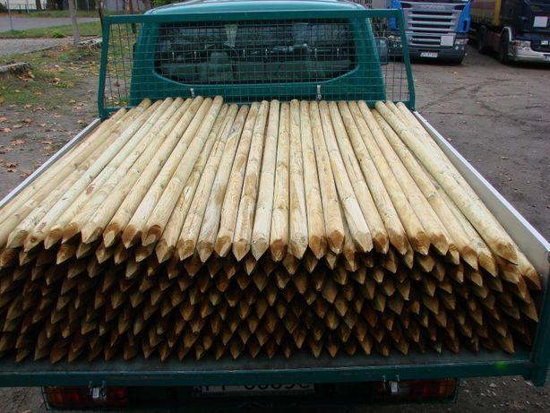 Paliki do drzewek toczone, słupki drewniane toczone, półwałki - rygle.