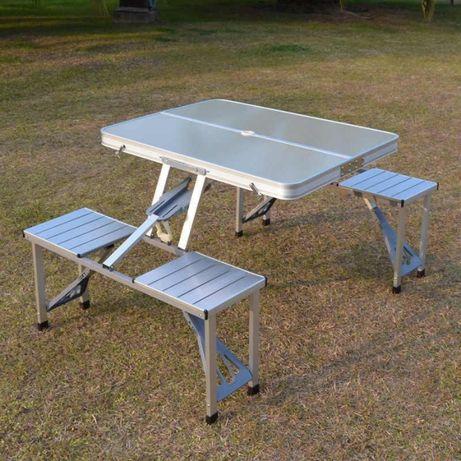 Удобный Алюминиевый раскладной стол с 4 стульями для дачи