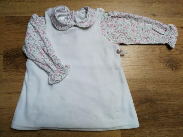 Śliczna sukieneczka i body 74 - baby cottons i sandałki różowe