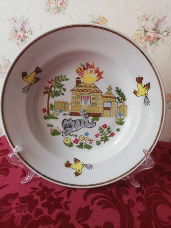Детский набор сервиз Комплект тарелок Кошкин дом СССР