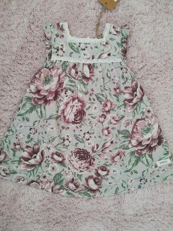 Sukienka newbie 80 lilla kwiaty
