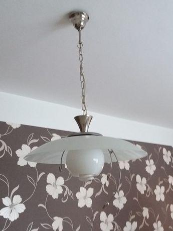 lampa wisząca (srebrna z szklanym kloszem)