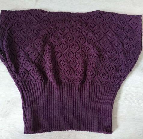 Sweterek ażurkowy ciemny fiolet