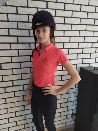 Koszulka jeździecka różowa dziewczęca