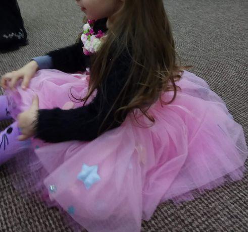 Невероятная юбка пачка розовая девочке 1-3-4 года 1в2