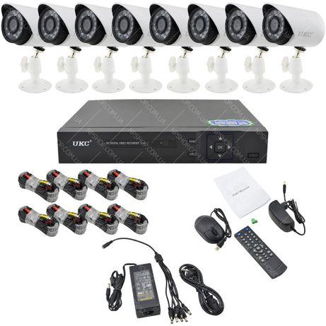 Комплект видеонаблюдения UKC на 8 камер Full HD AHD 3.6 мм