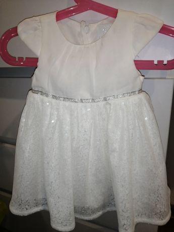 Piękna sukienka dziewczęca - Biała na Chrzest