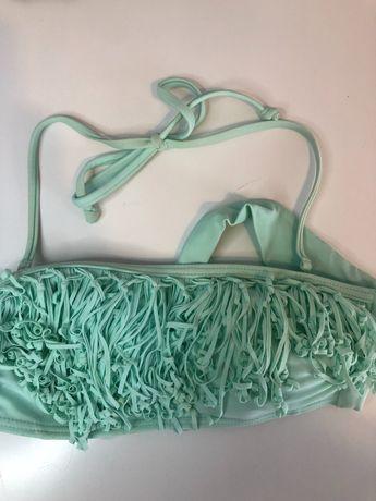 Parte de cima de bikini verde água com fios