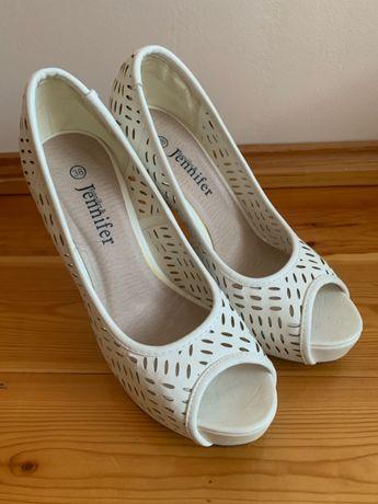 Białe szpilki Jennifer, rozmiar 38, stan idealny