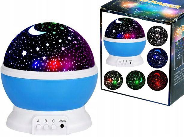 LAMPKA NOCNA LED PROJEKTOR Dla Dzieci Gwiazdy Obrotowa 360