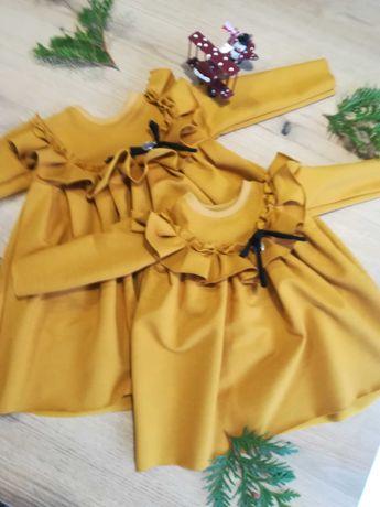 Miodówa musztardowa  rozmiar 92 sukienka z falbanką