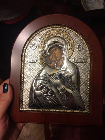 Икона БМ Владимирская серебро с позолотой Theodora