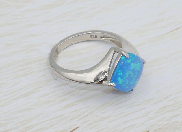 Srebrny pierścionek 925- opal australijski syntetyczny-rozmiar 16