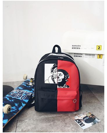 Рюкзак пушка огонь черно красный с лентами Харадзюку.