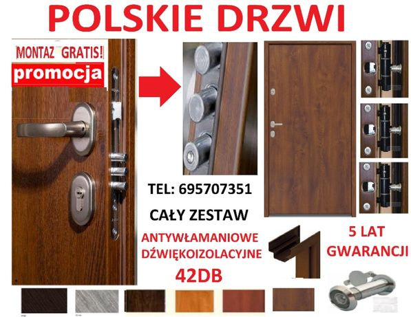 Drzwi wejściowe z montażem ,drzwi zewnętrzne antywłamaniowe do bloku