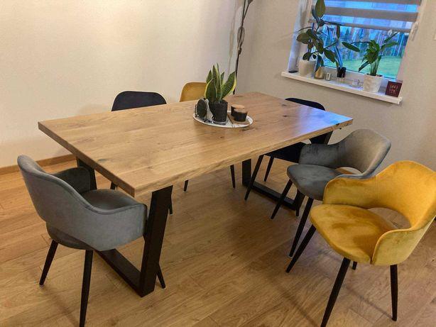 Stół do jadalni dębowy ze stali i drewna trapez, loft metalowe nogi.