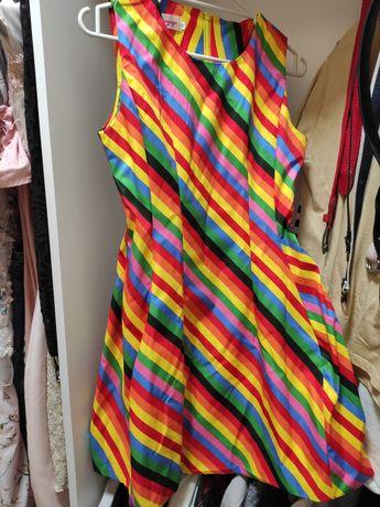 Радужное платье выпускное коктейльное летнее яркое радуга шелковое