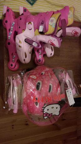 Rolki WINX i komplet ochraniaczy i kask Hello Kitty