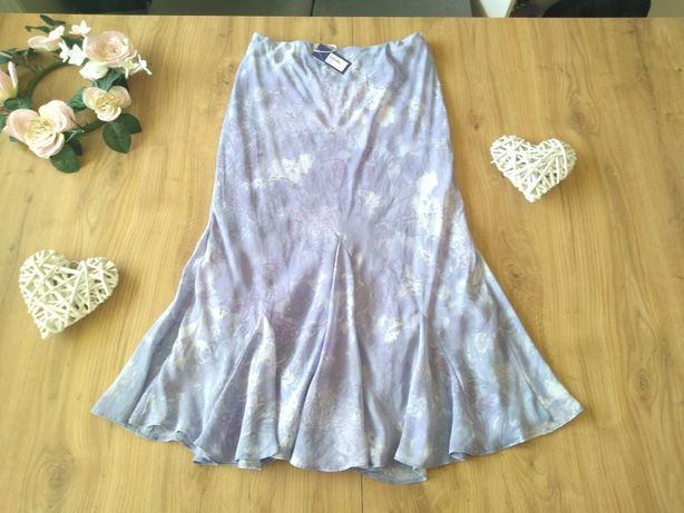 Nowa długa spódnica letnia 38 M na gumce fioletowa wrzosowa zwiewna