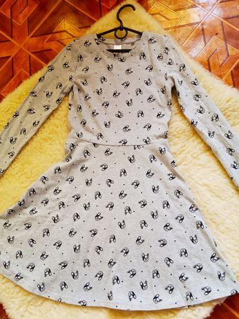 Трикотажное, серое платье