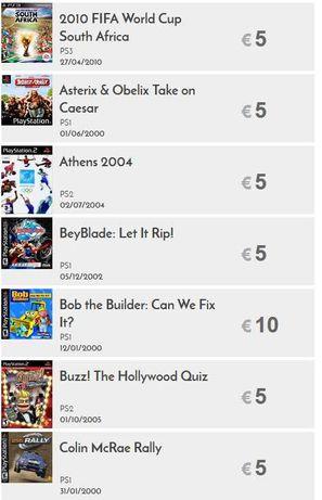 Jogos PS1, PS2, GameCube e  PSP