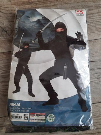 Strój karnawałowy  Czarny Ninja Japoński 164