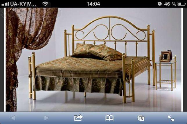 кровать + 1 тумба, метал. золото