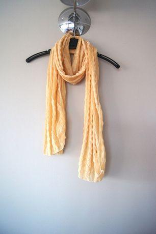 jasny bialy kremowy pomaranczowy bezowy szal szalik chusta kremowa hit