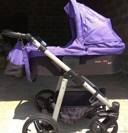 Детская коляска Bebetto Niko+ 2в1 (люлька и прогулочный вариант)