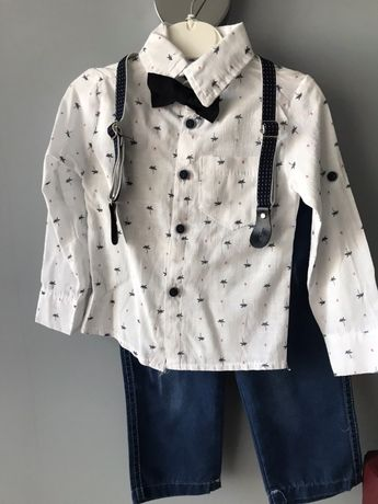 Костюм для хлопчика/ костюмчик святковий/ джинси/ сорочка/ піддяжки